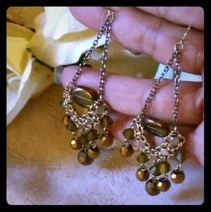 Vintage Bronze Aurora Borealis Bead Dangle Earring